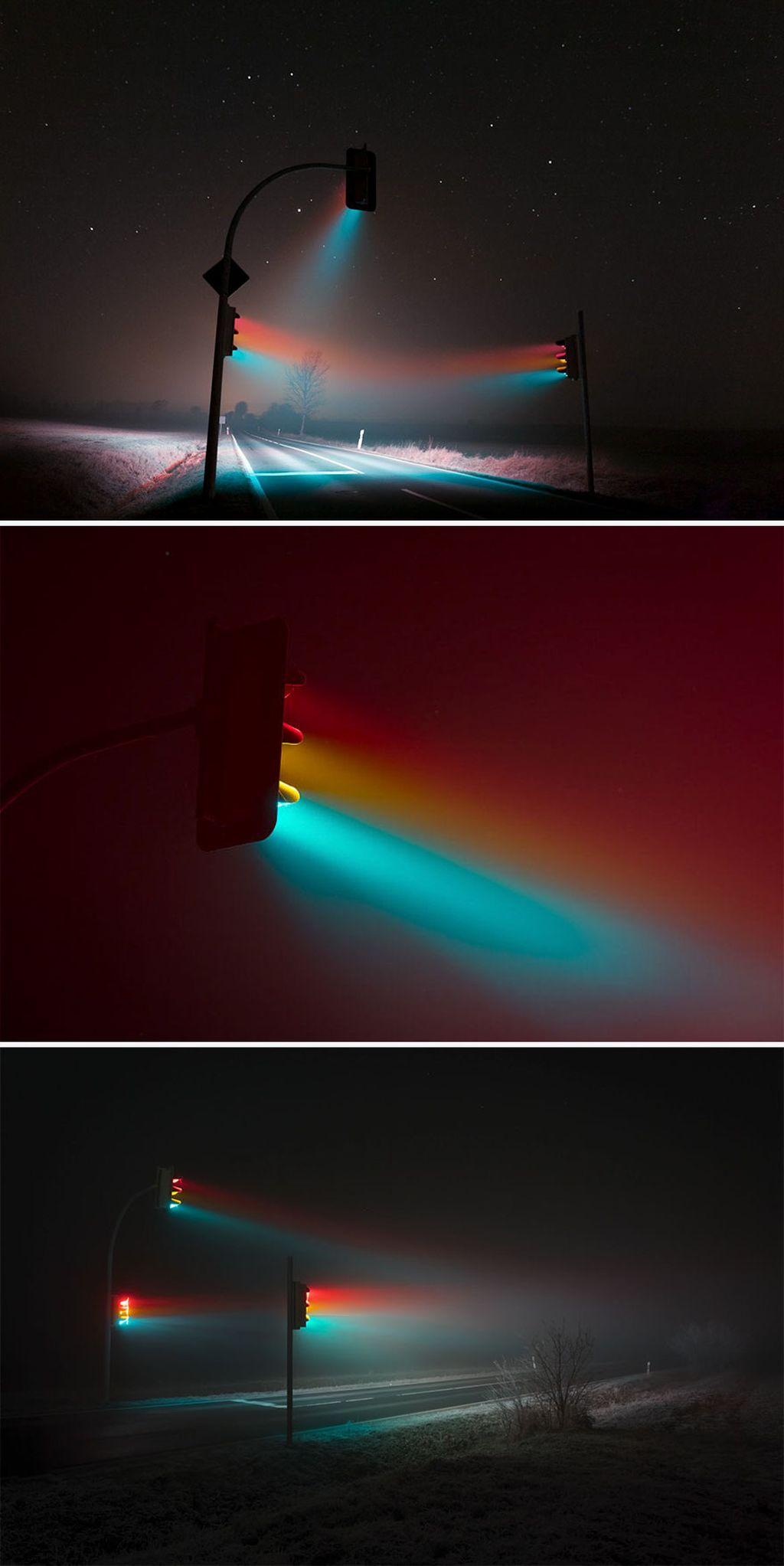 Cahaya dari lampu jalan, perpaduan warna merah, hijau, kuning yang membuatnya indah. (Foto:Lucas Zimmermann/boredpanda)