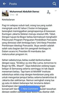 Screenshot FB Direktur MAARIF Institute
