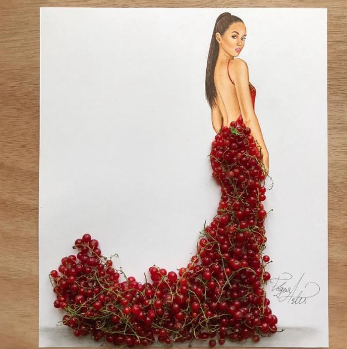 Edgar Artis adalah fashion illustrator asal Armenia. Di tangan kreatifnya, red currant jadi bagian baju merah red currant couture. Dalam keterangan foto, Edgar juga menyisipkan pesan bahwa hidup itu indah. Foto: Edgar Artis