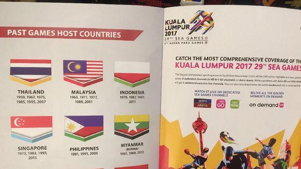 Bendera Indonesia terbalik di buku panduan SEA Games 2017 /
