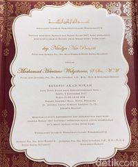 Undangan pernikahan putra Jenderal BG dengan putri Komjen Buwas.