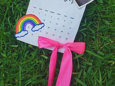 Cuma kalender, foto USG, dan gambar pelangi aja udah bisa mengirimkan pesan mendalam tentang si rainbow baby lho. (Foto: Instagram/ @_rodriguez.elsa)