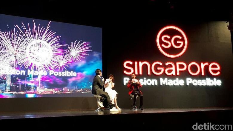 Foto: Gading dan Gisel berbincang soal wisata di Singapura (Kurnia/detikTravel)