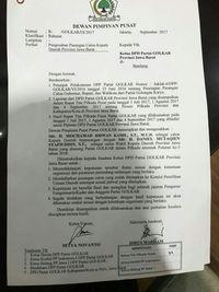 Surat penetapan Ridwan Kamil.