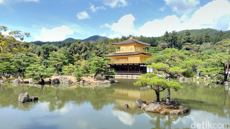 Kinkaku atau The Golden Paviliun, adalah sebuah komplek Kuil di Kota Kyoto, Jepang. Di kompleks ini, terdapat kuil berlapis emas berdiri anggun di tengah kolam besar (Hans/detikTravel)