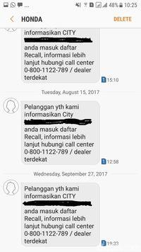 Pemberitahuan recall Honda melalui SMS