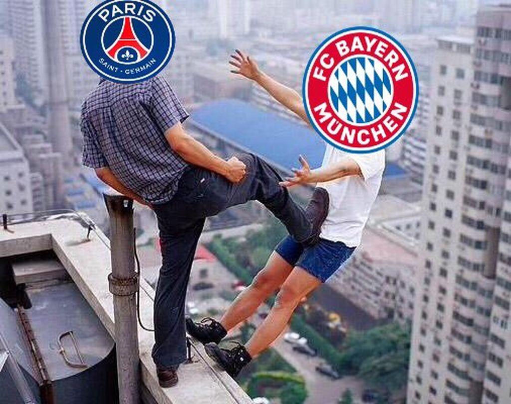 Bayern Munich tidak berdaya di hadapan Paris Saint-Germain sehingga takluk dengan skor telak 0-3. Foto: Meme/Istimewa