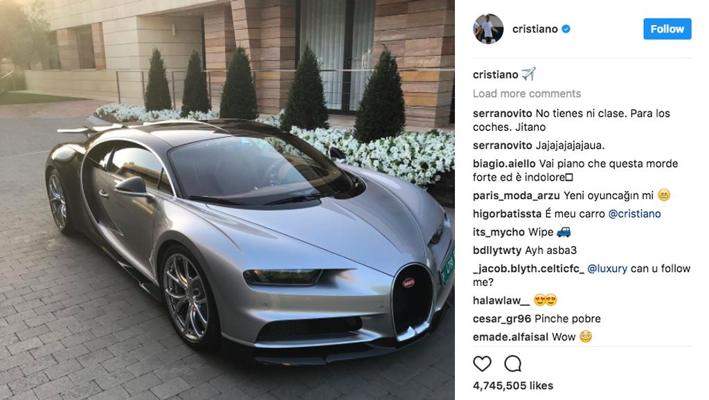 Lagi, Cristiano Ronaldo Pamer Habis Beli Bugatti Chiron Baru