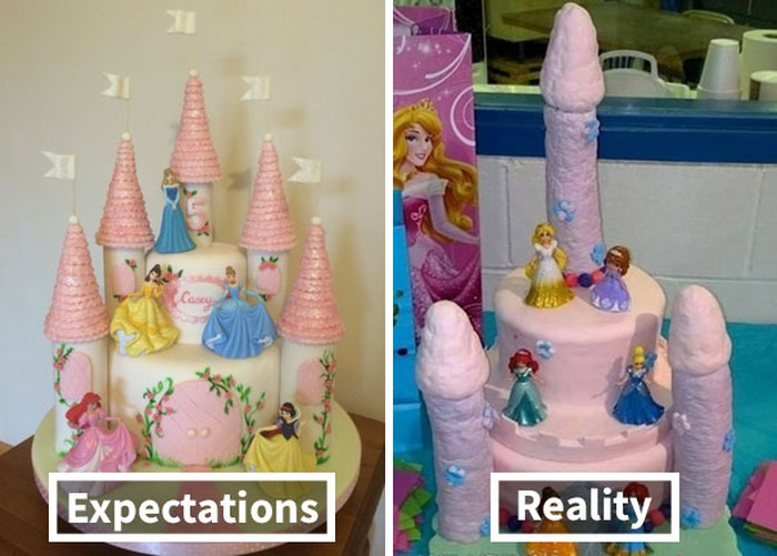 Cake tema Disney Princess ini harusnya cantik dengan susunan putri-putri berdiri di istana megah. Tapi hasilnya, menara istana pada cake justru bengkok dan terlihat aneh. Tampilan putri Disney Princess pun jadi kurang anggun. Foto: Istimewa