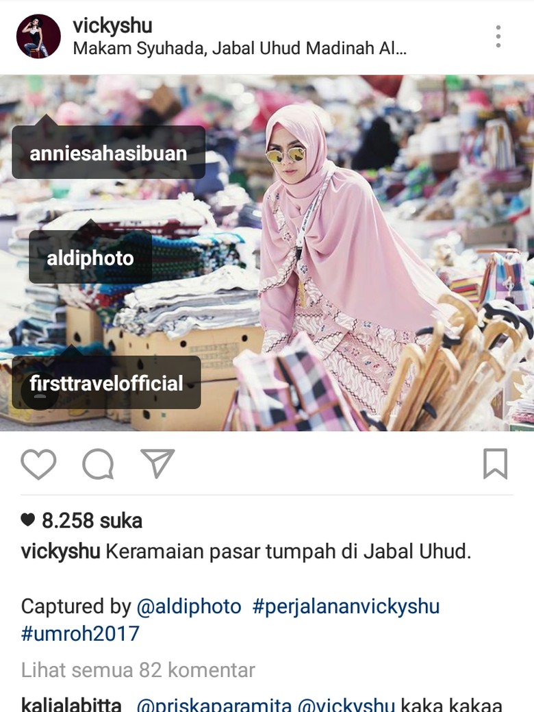 Bantah Endorse, Vicky Shu Tag Akun First Travel di Instagram