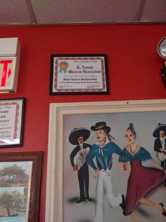 Ini sebenarnya restoran Meksiko. Tapi malah dapat penghargaan untuk Restoran Italia Terbaik. Kok bisa? Foto: Istimewa