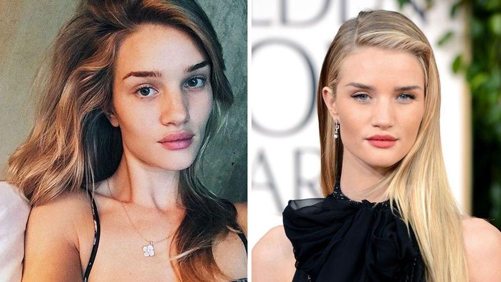 Foto: 10 Perbandingan Wajah Artis Hollywood Sebelum dan Sesudah Makeup