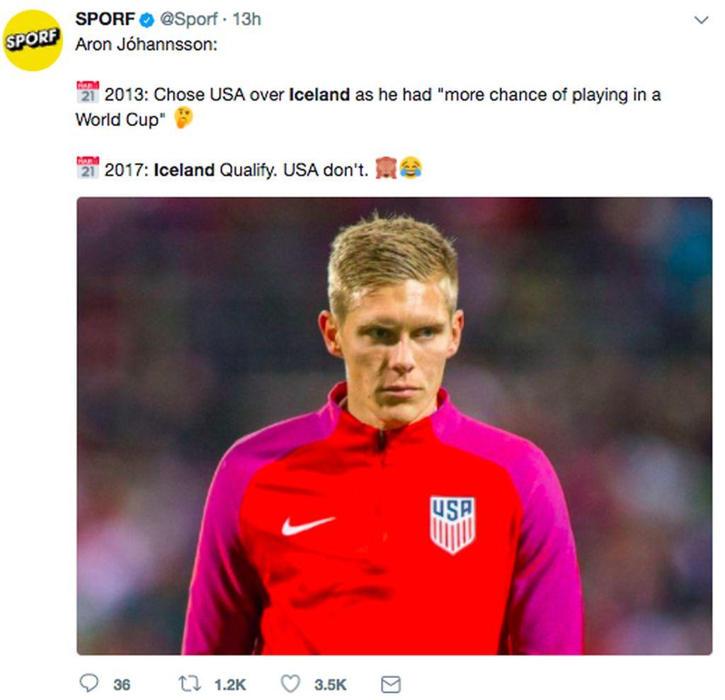 Aron memilih membela AS karena menganggap lebih punya peluang bermain di Piala Dunia. Ia memang sempat tampil sebagai cadangan di Piala Dunia 2014, namun sekarang tak dipakai karena prestasinya menurun. Jika saja striker Werder Bremen ini membela Islandia, agaknya dia bakal menjadi pemain penting. Foto: istimewa