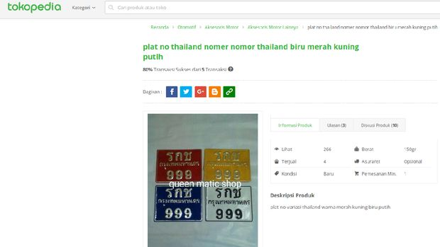 Jadi Tren, Pelat Motor Thailand Banyak Dijual di Situs Online