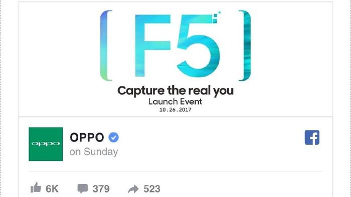 Teaser F5. Foto: Oppo