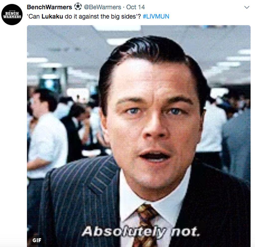 Lukaku memang terhitung jarang menjebol gawang tim besar. Apa Lukaku bisa melakukannya lawan tim besar? Leonardo di Caprio pun menjawab Tidak sama sekali!. Foto: istimewa