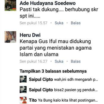 Screenshot komentar Heru Dwi yang dinilai menebarkan kebencian