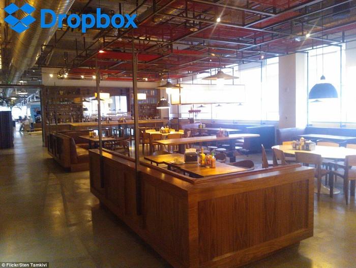 Ini adalah suasana kantin kantor Dropbox di San Francisco. Pegawai setempat menyebut kantin ini dengan nama Tuck Shop. Nampak kantin didesain terbuka dengan dominasi kayu. Foto: Istimewa
