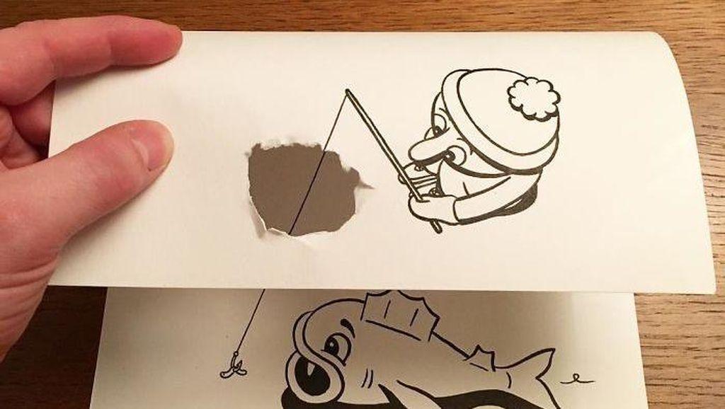 Kreatif! Sobekan Kertas Disulap Jadi Gambar 3D