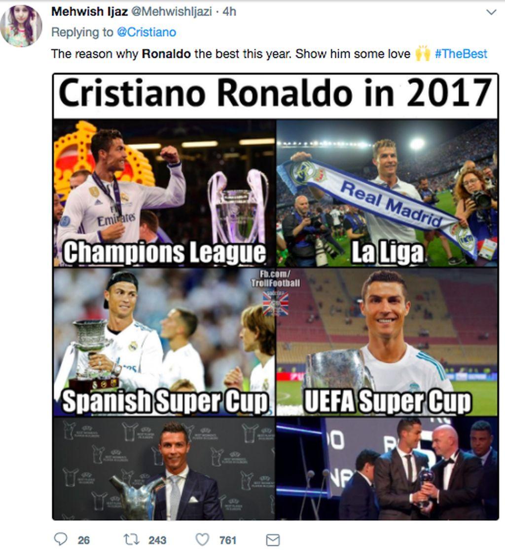 Beragam presatsi besar Ronaldo sepanjang tahun 2017 membuatnya pantas menjadi pemain terbaik sejagat. Foto: istimewa