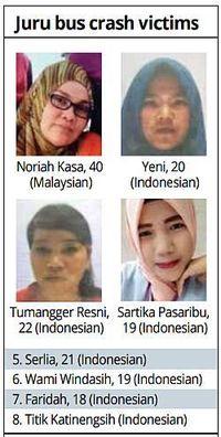 Para korban tewas kecelakaan bus maut di Penang, Malaysia
