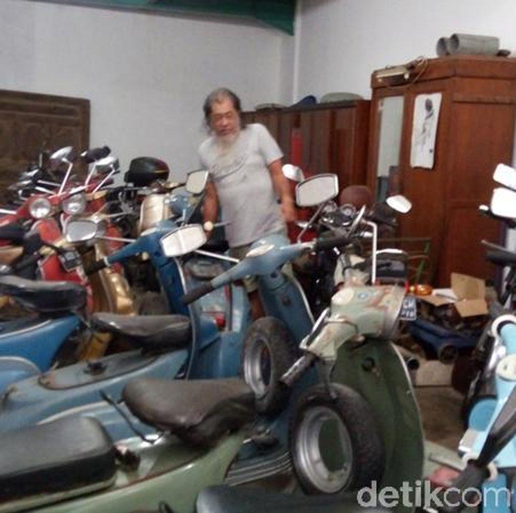 Wah! Josep Kumpulkan 65 Vespa Senilai Rp 2 M di Rumahnya