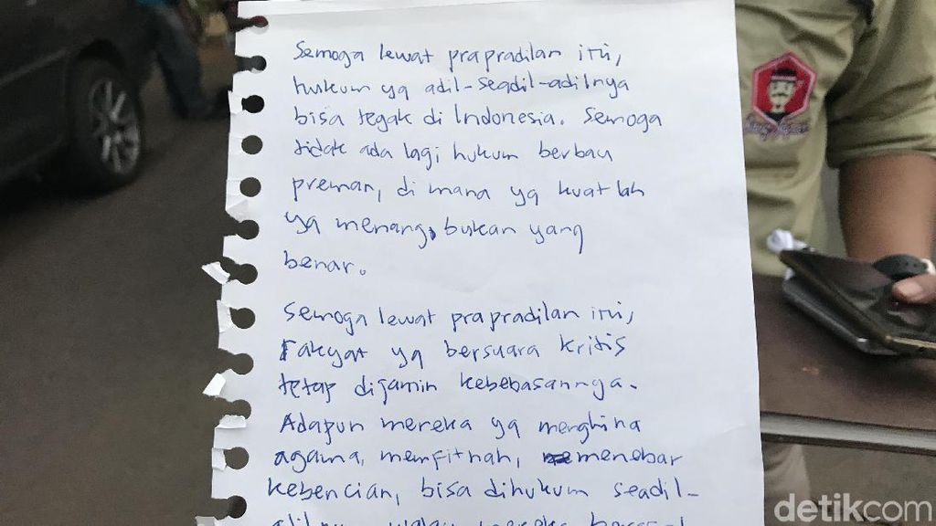 Jelang Praperadilan, Jonru Ginting Tulis Pesan dari Balik Penjara