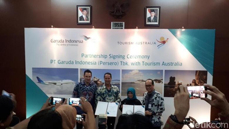 Suasana penandatanganan MoU antar Garuda Indonesia dan Tourism Australia (Randy/detikTravel)