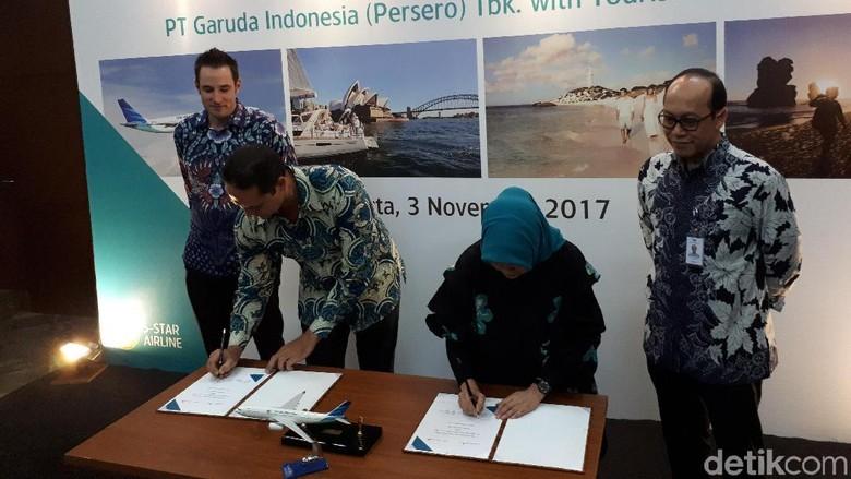 Foto: Penandatangan MoU Garuda Indonesia dan Tourism Australia (Randy/detikTravel)