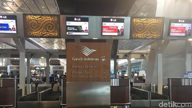 Counter check in Garuda Indonesia (Erna/detikTravel)