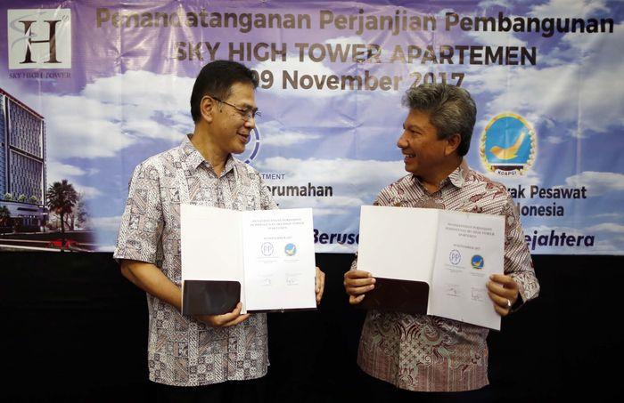 Dalam penandatanganan ini hadir Ketua Koperasi Awak Garuda (Koapgi) Rimond B Sukandi bersama Senior VP Head of Building I Division PT PP, Royaldi Rosman.