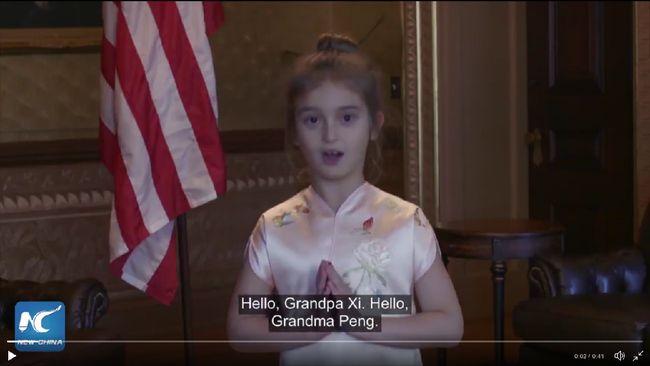 e616206f1 Beijing – Momen menggemaskan saat Arabella Kushner, cucu perempuan Presiden  Amerika Serikat (AS) Donald Trump, menyanyi Mandarin terekam video.