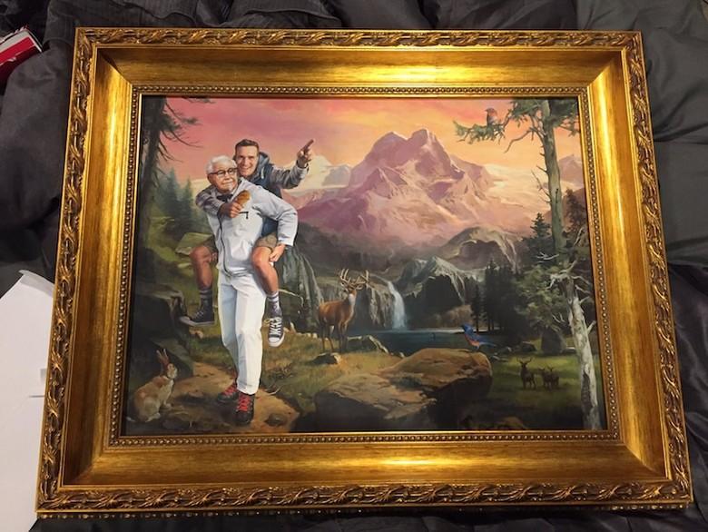 Unik Banget! Lukisan Ini Tampilkan Kolonel Sanders KFC Gendong Seorang Pria