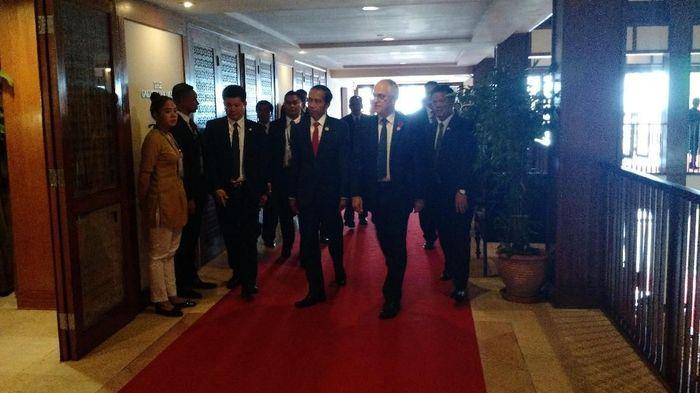 Foto: Presiden Joko Widodo mengadakan pertemuan bilateral dengan Perdana Menteri Australia Malcolm Turnbull. (Danu Damarjati/detikcom)