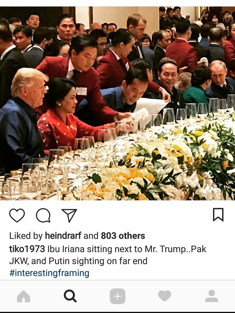 Keakraban dan Trump di Gala - Keakraban terlihat saat acara Gala Dinner dan Pertunjukan Budaya acara Kerjasama Ekonomi Asia Jakarta Istri Presiden Joko nampak