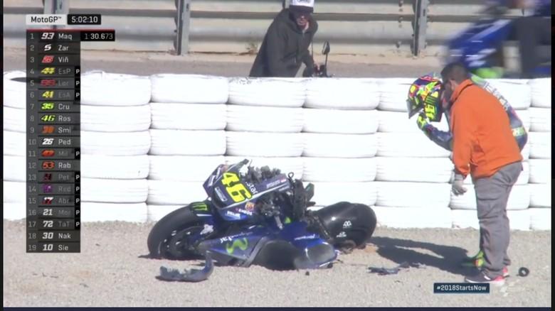 Hancur Berantakan, Begini Kondisi Motor Rossi Usai Crash di Valencia