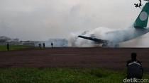 Menegangkan, Pesawat Terbakar Dalam Simulasi di Bandara Husein