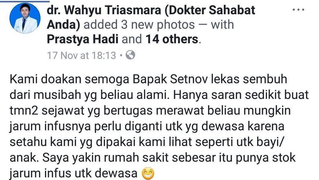 Viral Postingan Dokter Soal Jarum Infus Setya Novanto Sebelum Dipindahkan ke RSCM