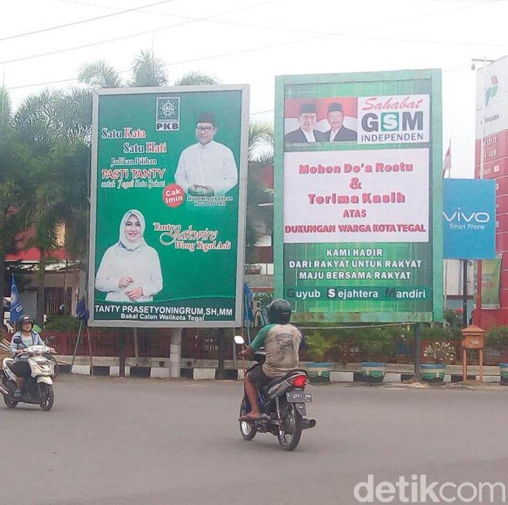 Jelang Pilkada, Baliho Tak Berizin Bertebaran di Kota Tegal