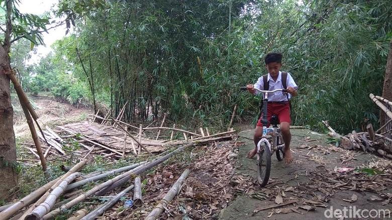 Jembatan Kalentemu di Karawang Akses - Karawang Jembatan bambu yang membentang di atas sungai Ciherang roboh karena Sungai Ciherang Rabu Jembatan sepanjang meter itu