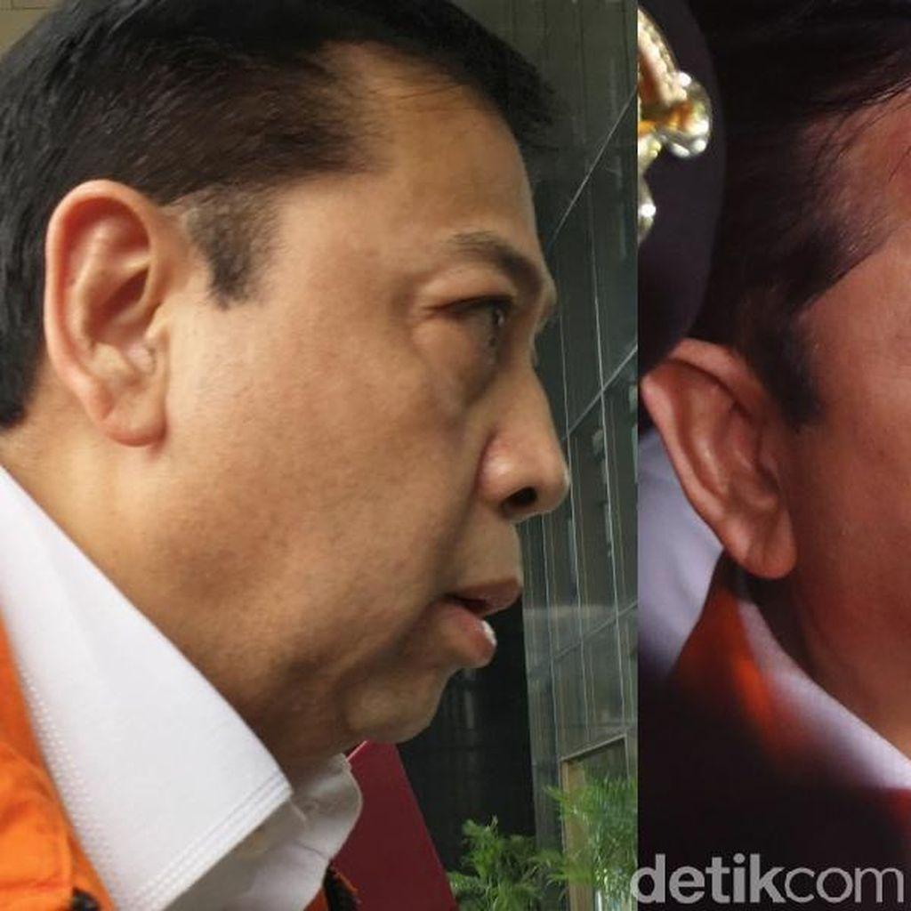 Membandingkan Foto Dahi Novanto Kemarin dan Hari ini