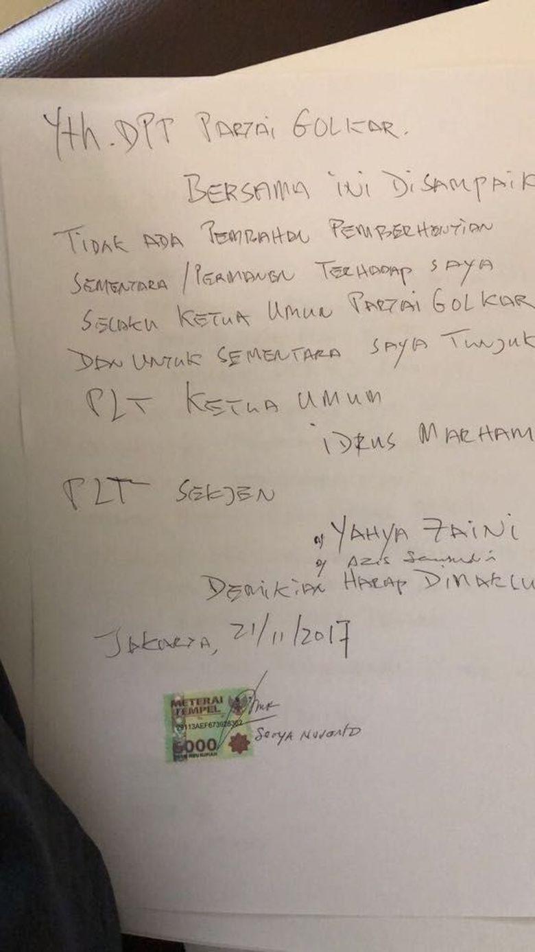 Ini Tulisan Tangan Novanto Tolak Dicopot dari Ketua DPR-Ketum Golkar