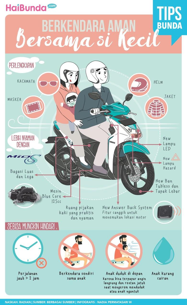 Tips aman berkendara pakai motor bersama anak/ Foto: Infografis