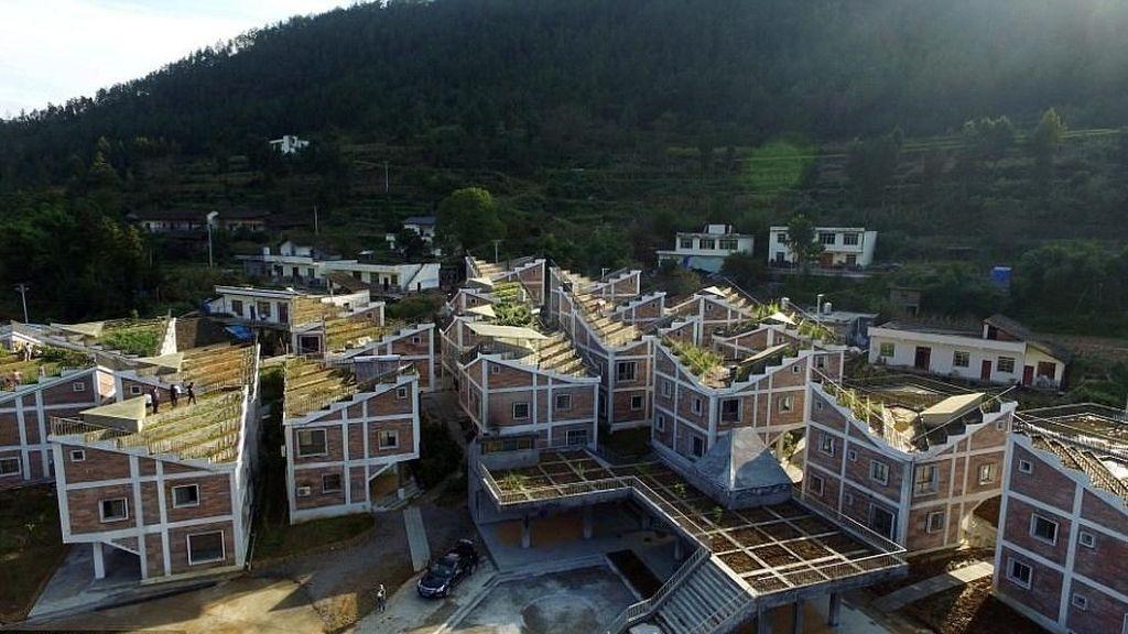 Inspiratif! Desa di China yang Bercocok Tanam di Atap Rumah