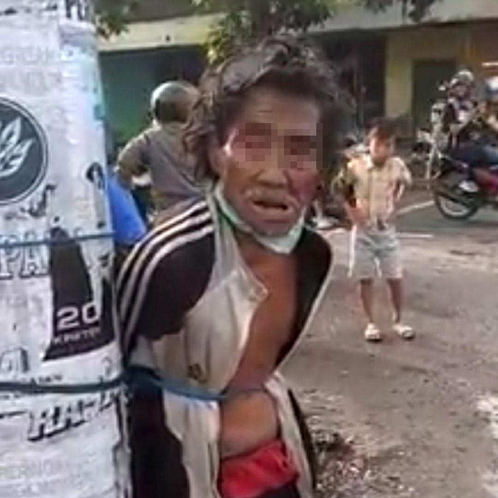 Beredar Video Seorang Kakek Diduga Gangguan Jiwa Diikat di Tiang