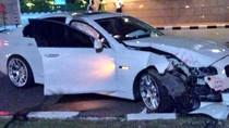 BMW Tabrak Tiang Beton di Senayan, Bodi Depan Ringsek