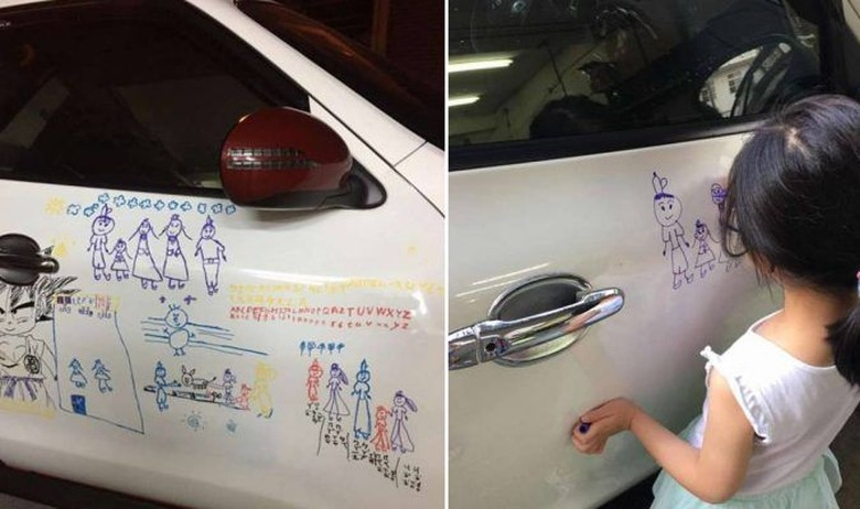 Keren! Ayah Ini Izinkan Anak Coret-coret Mobilnya, Kalau Kamu Rela?