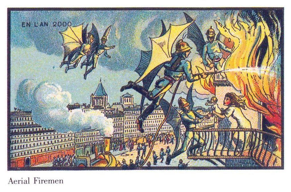 Lukisan ini adalah hasil karya seniman asal Prancis Jean-Marc Cote dan rekan-rekannya tentang teknologi masa depan. Dipublikasikan sekitar tahun 1900. Mereka membayangkan di masa depan pemadam kebakaran bisa terbang seperti ini. Foto: istimewa