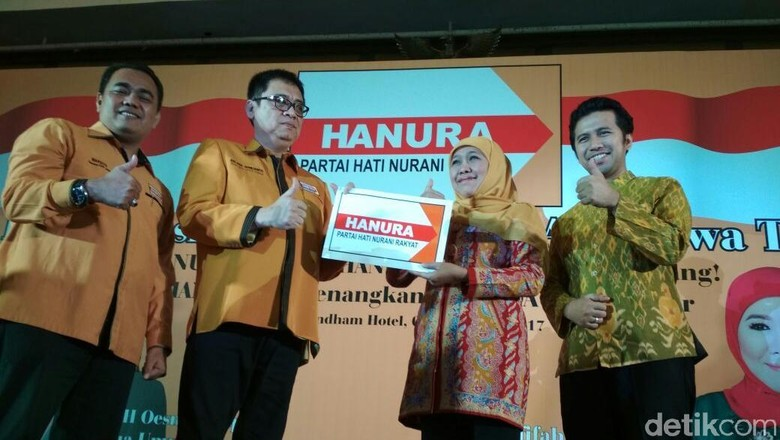 Hanura Resmi Dukung di Pilgub - Surabaya Usai Partai Demokrat dan Partai Golkar mengusung pasangan Khofifah Indar Dardak di Pilgub Jatim kini giliran Partai
