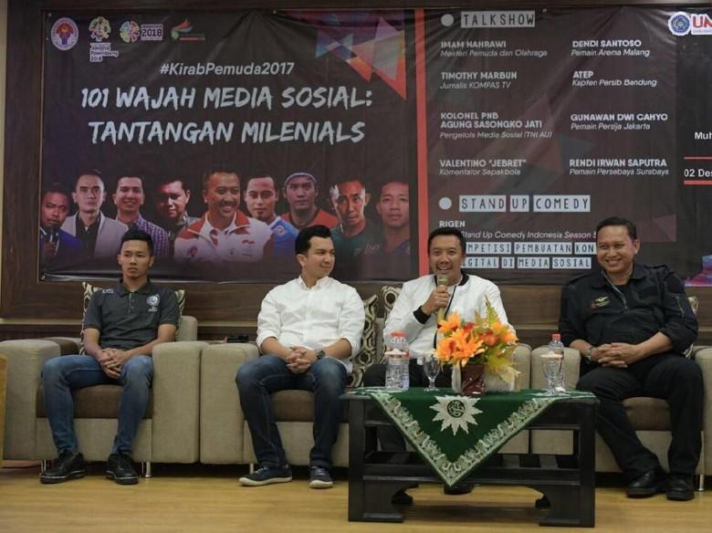 Menpora Ajak Pemuda Bijak Bermedsos - Sidoarjo Dengan menggunakan media sosial secara generasi millenials memiliki andil besar dalam mendukung terciptanya suasana Selain itu mereka